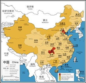 The map of China with province